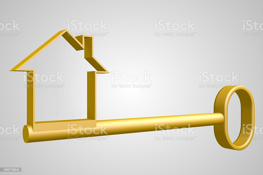 3D key for the house stock photo