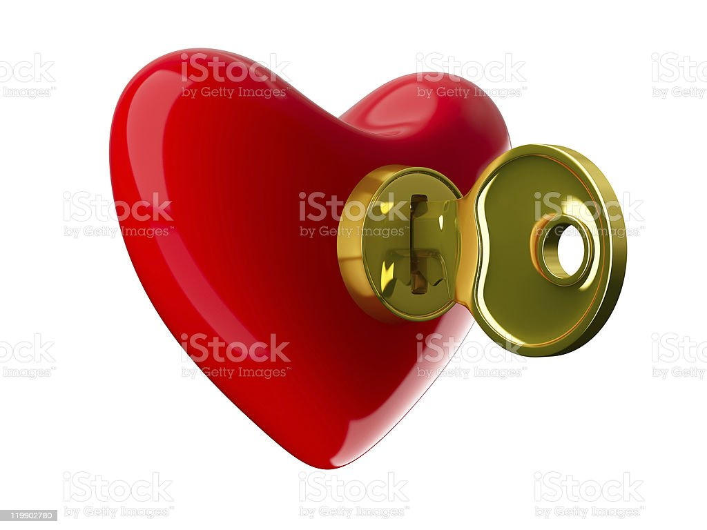 Key from heart. Isolated 3D image on white royalty-free stock photo