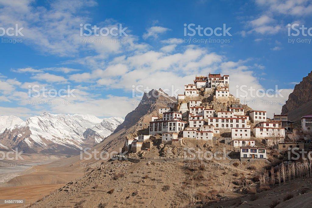 Key Gompa Monastery Sunrise stock photo