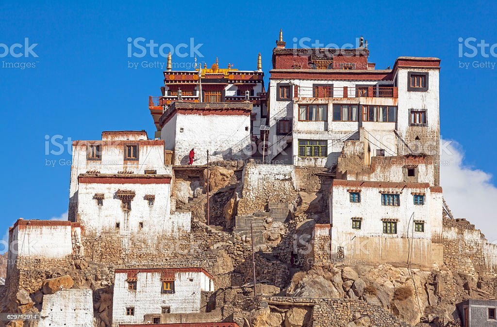 Key Gompa Monastery Sunrise stock photo