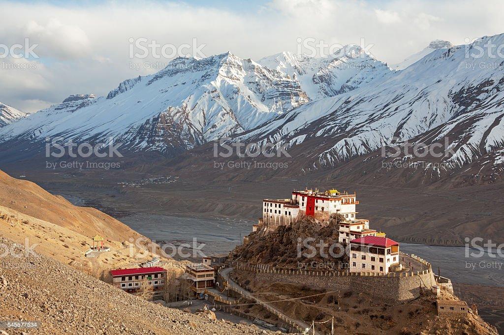 Key Gompa Monastery Sunset stock photo