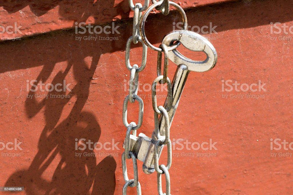 Key hanging on key chain stock photo