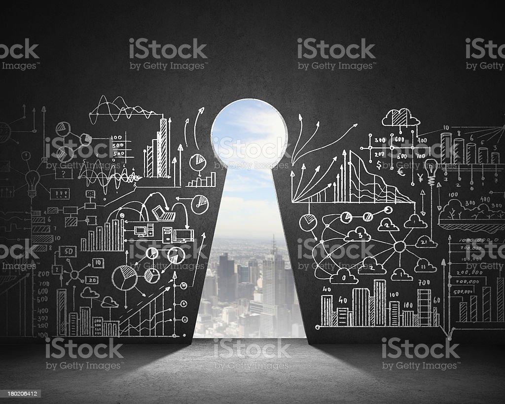 Key hole background stock photo
