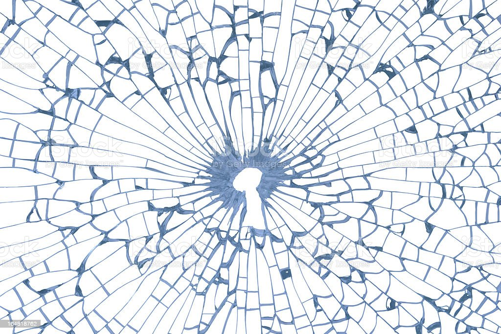 Key hole in broken glass stock photo
