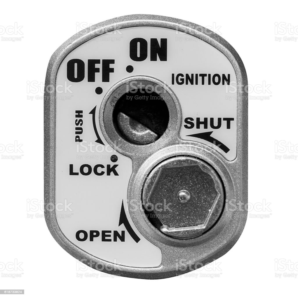 key hole on a motorcycle, ignition switch stock photo