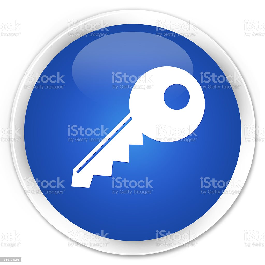 Key icon blue glossy round button stock photo