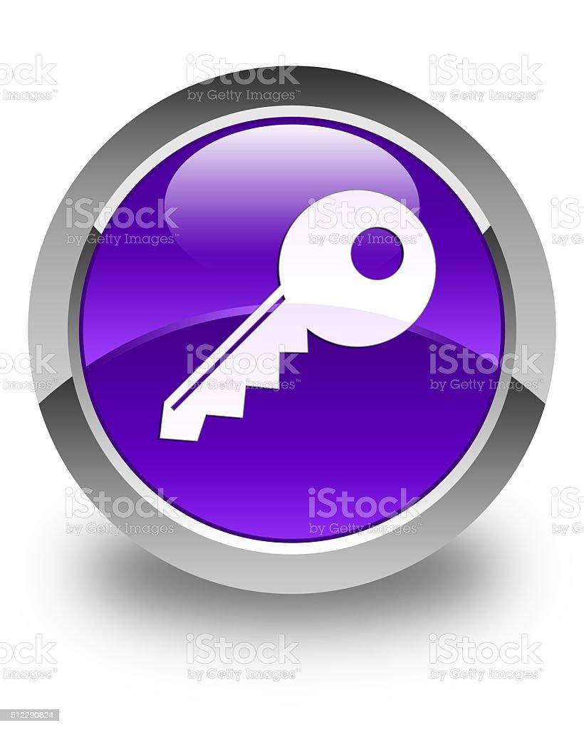Key icon glossy purple round button stock photo