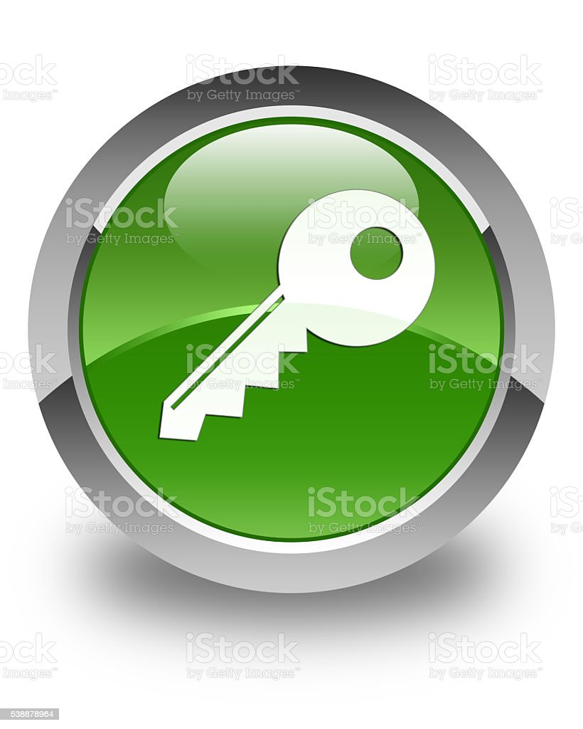 Key icon glossy soft green round button stock photo