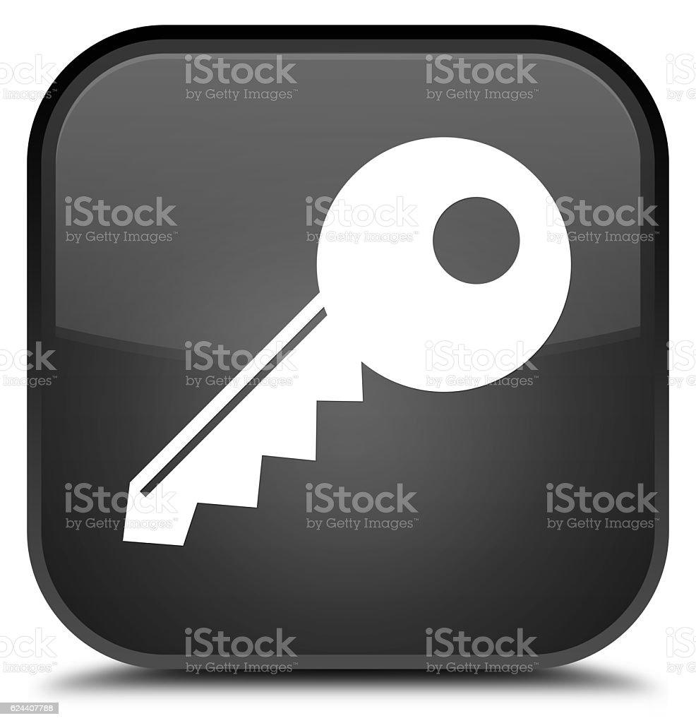 Key icon special black square button stock photo