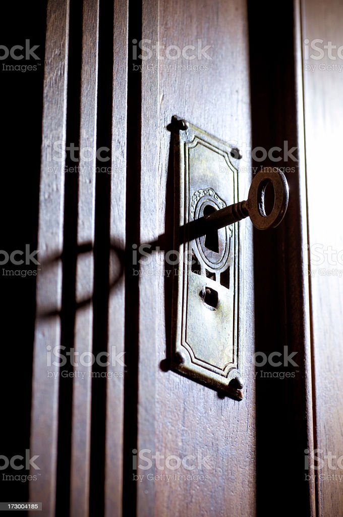 Key in a lock royalty-free stock photo