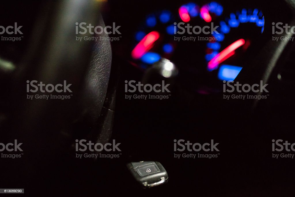 Key in ignition stock photo