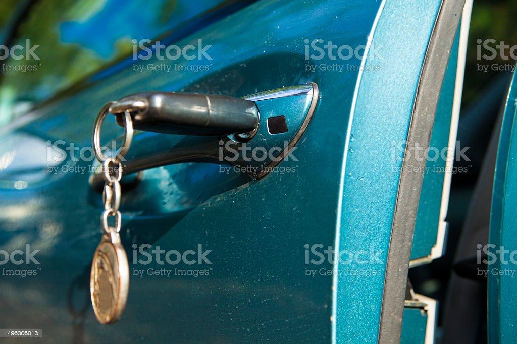Key in lock of  car stock photo