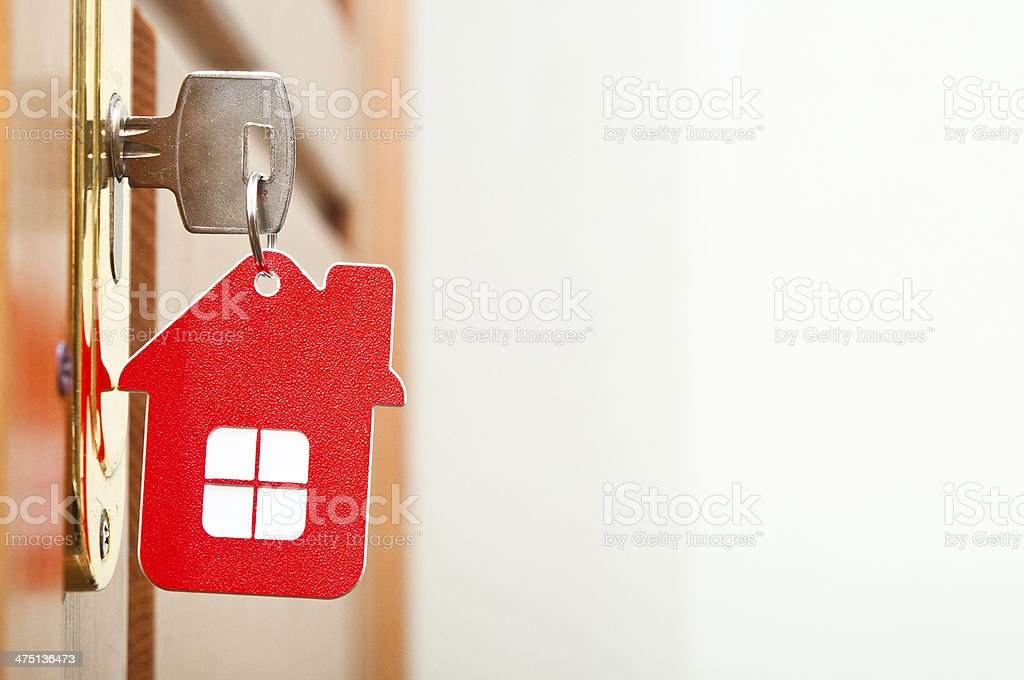 key in the keyhole stock photo