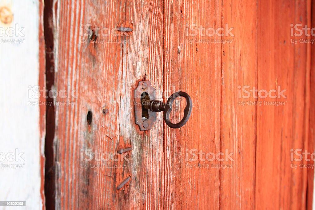Key in the lock stock photo