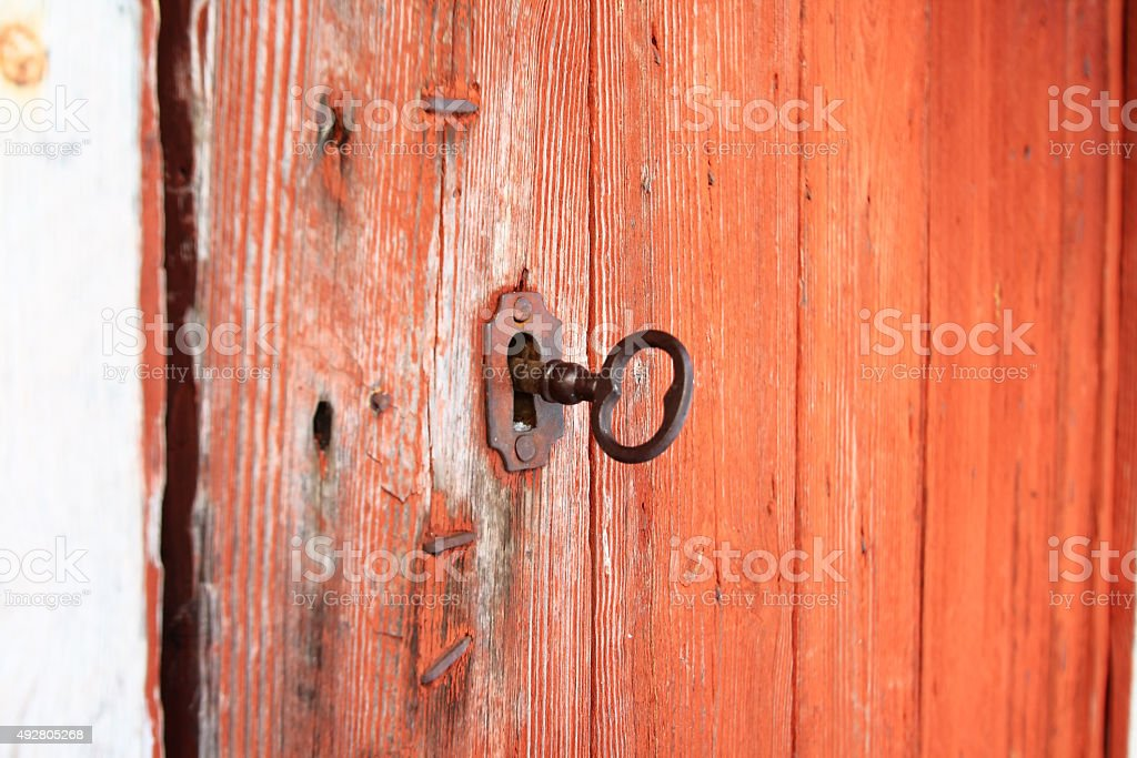 Key in the lock stock photo
