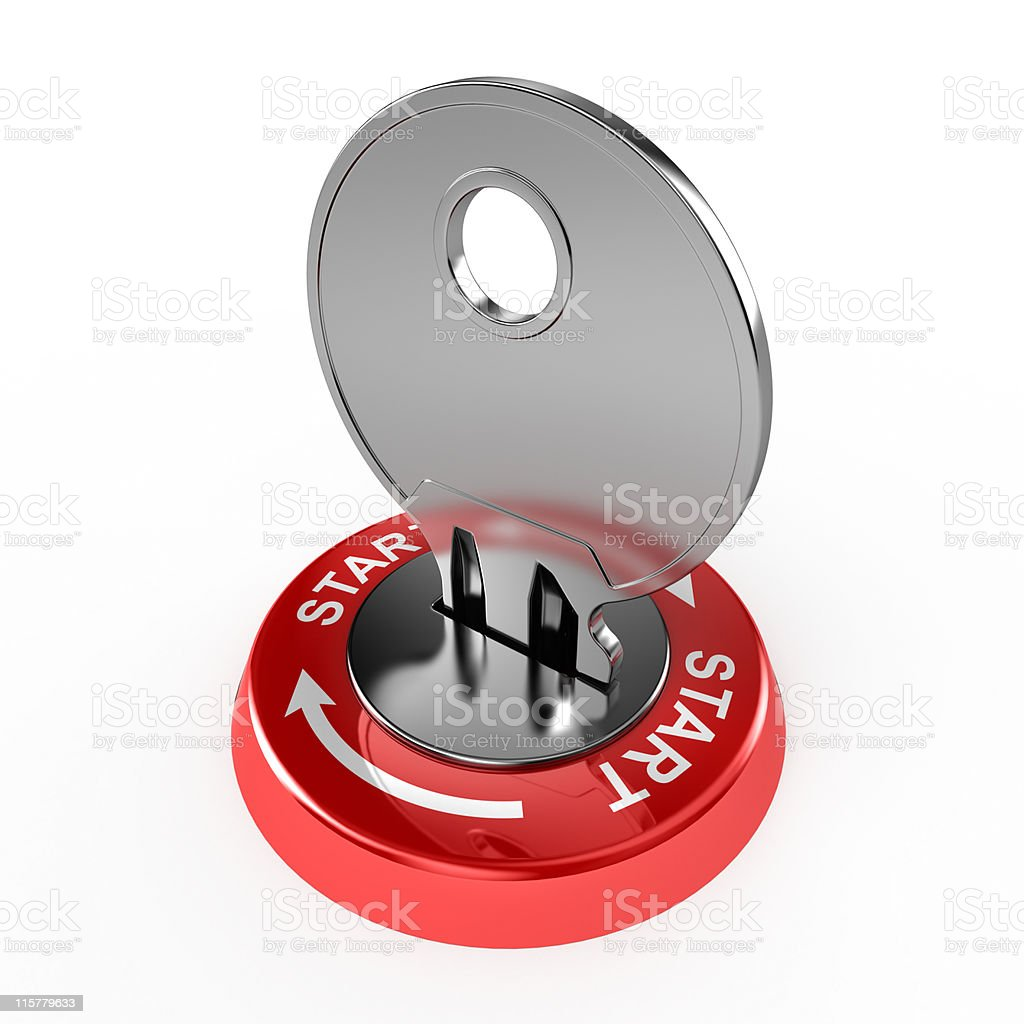 Key in the lock ready to start royalty-free stock photo