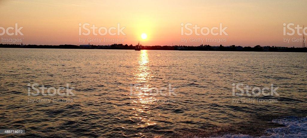 Key Largo Coastline Sunset stock photo