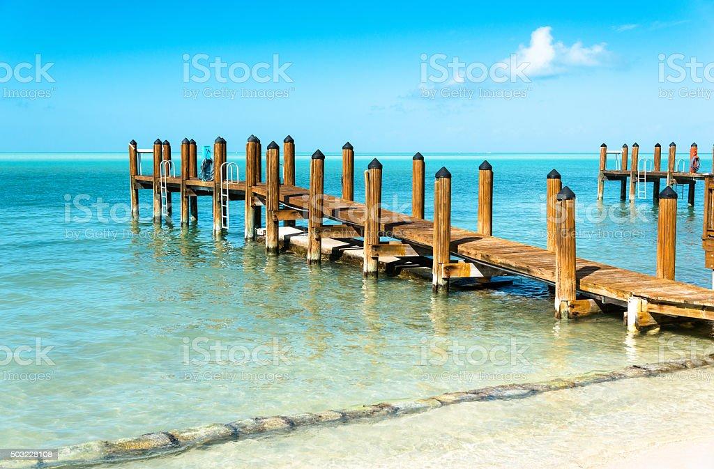 key largo pier stock photo