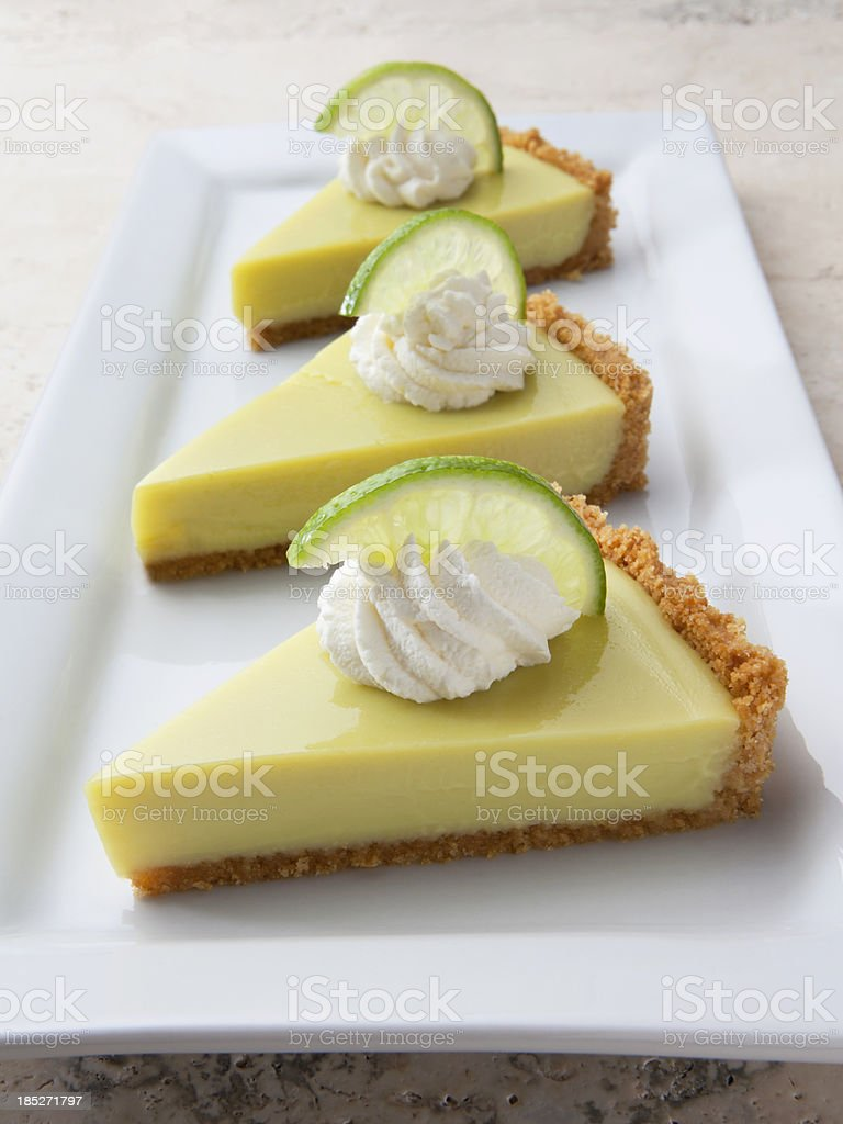Key Lime Pie Slices with Whipped Cream on Marble Table. royalty-free stock photo
