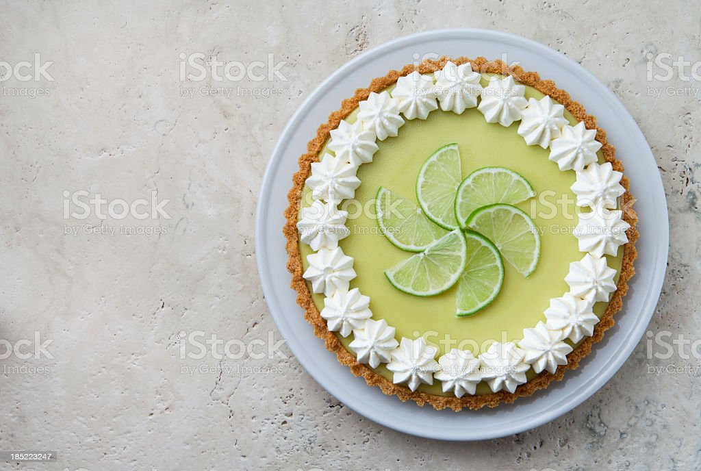 Key Lime Pie with Whipped Cream Rosettes and Lime Slices. stock photo