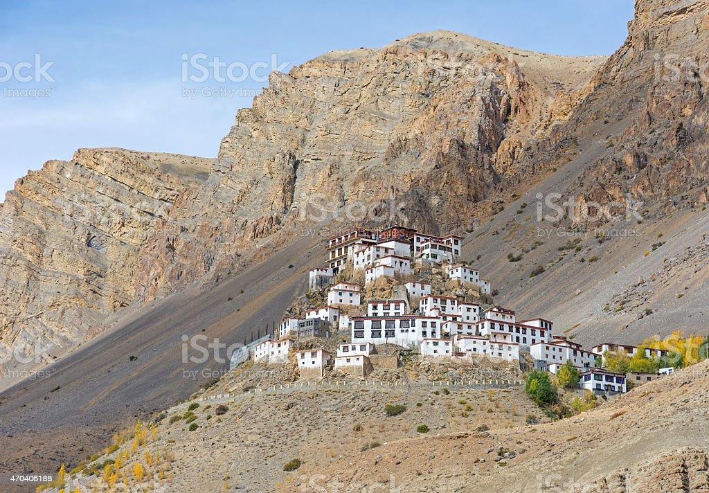 Key monastery at Kaza, Himachal Pradesh stock photo