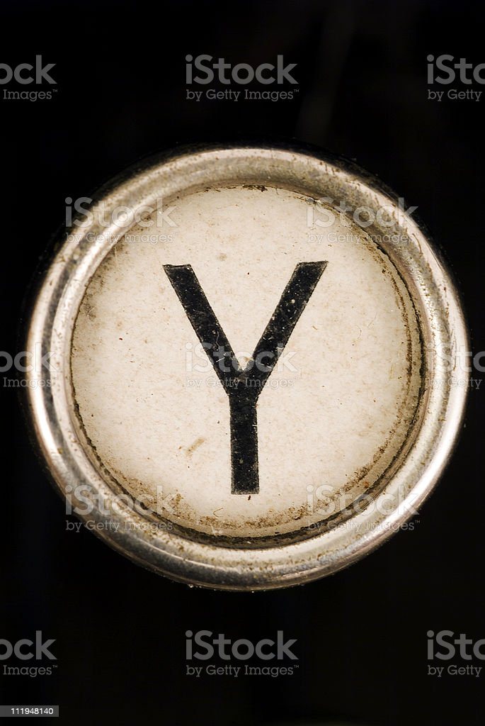 Y key of a full alphabet from grungey typewriter royalty-free stock photo