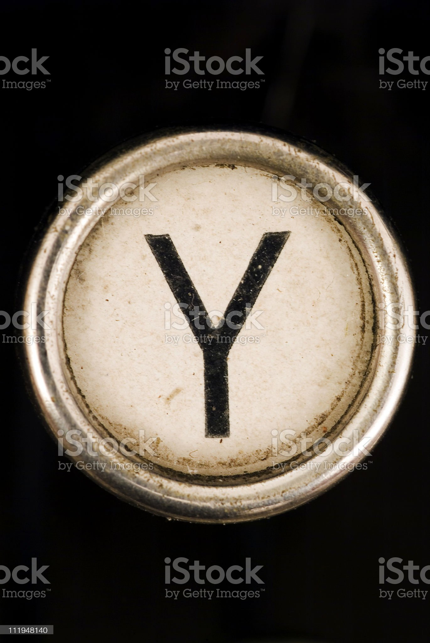 Y key of a full alphabet from grungey typewriter royalty-free stock photo