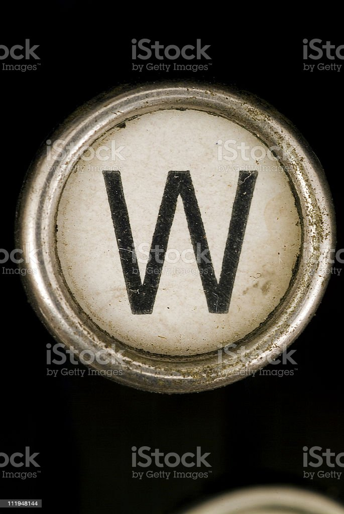 W key of a full alphabet from grungey typewriter royalty-free stock photo