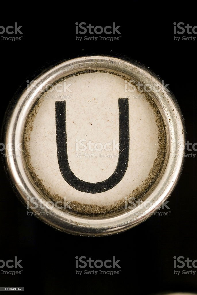 U key of a full alphabet from grungey typewriter royalty-free stock photo