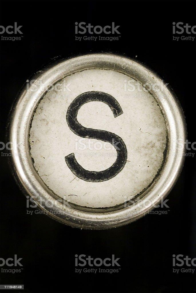 S key of a full alphabet from grungey typewriter stock photo