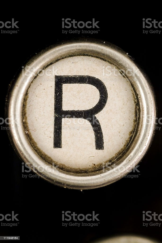 R key of a full alphabet from grungey typewriter royalty-free stock photo
