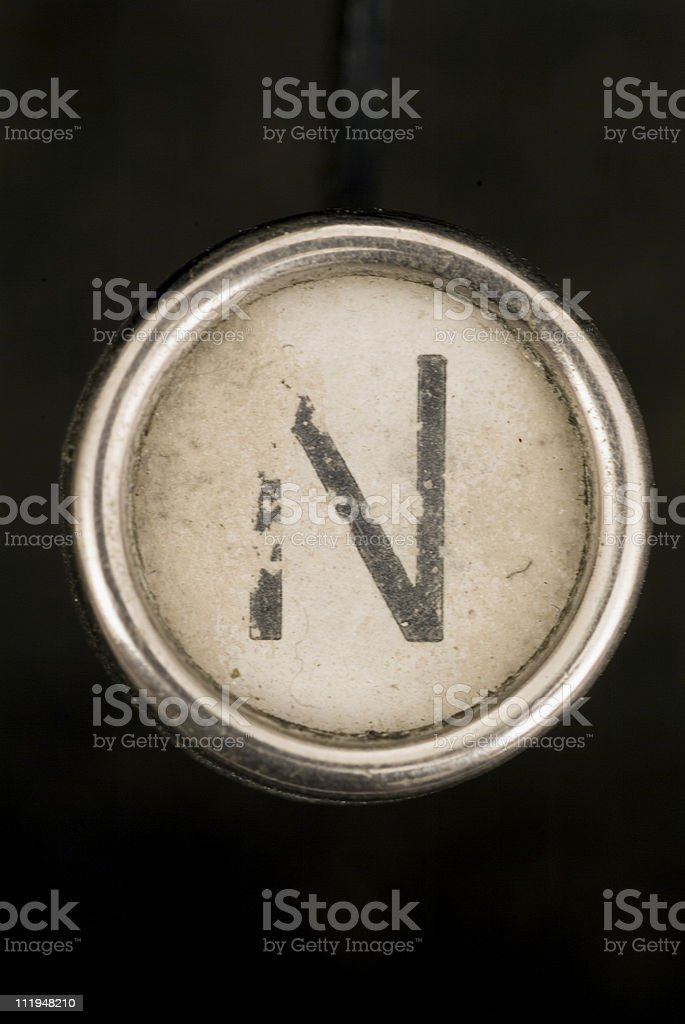 N key of a full alphabet from grungey typewriter royalty-free stock photo