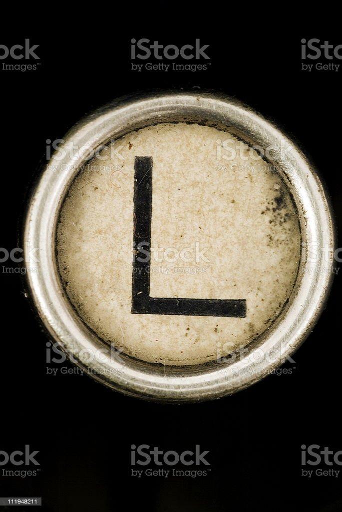 L key of a full alphabet from grungey typewriter royalty-free stock photo