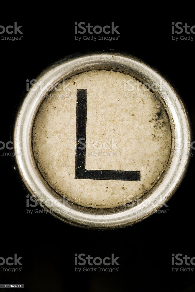 L key of a full alphabet from antique typewriter stock photo