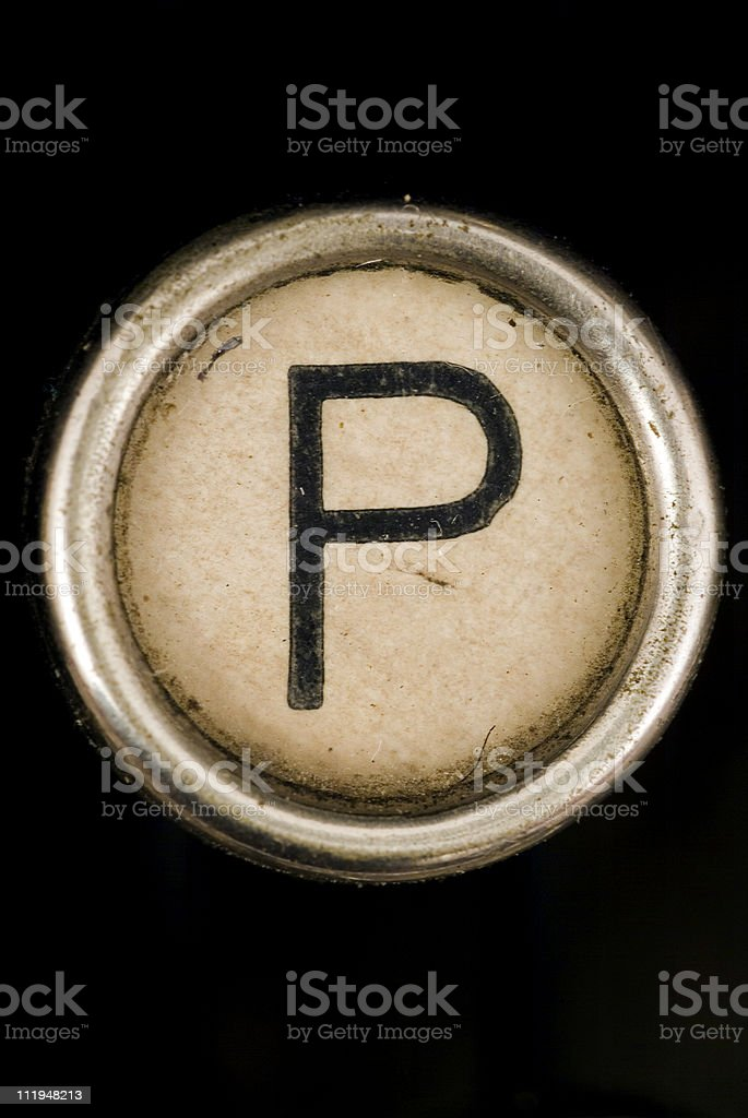 P key of a full alphabet from grungey typewriter stock photo