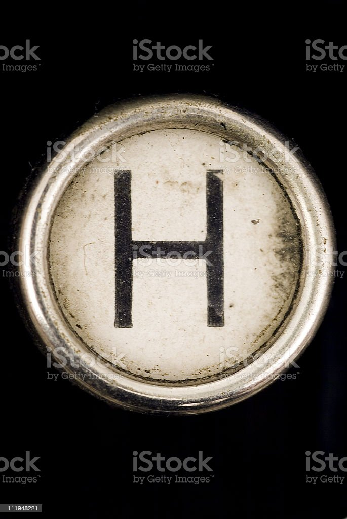 H key of a full alphabet from grungey typewriter royalty-free stock photo