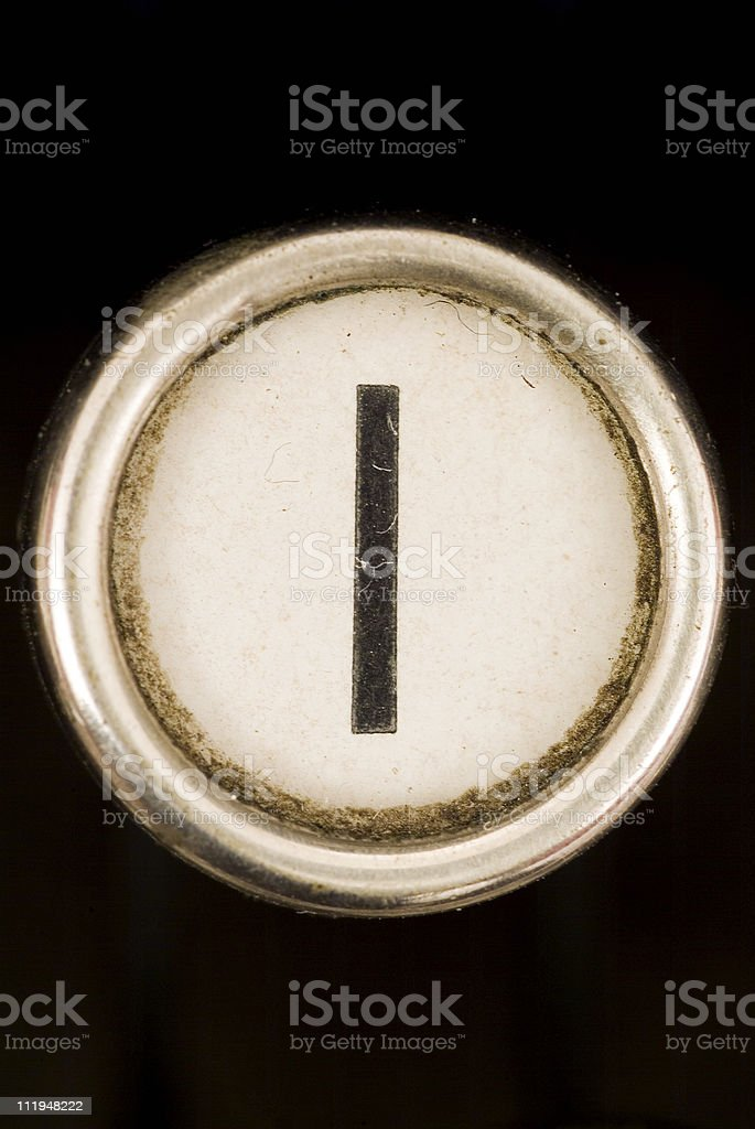 I key of a full alphabet from grungey typewriter royalty-free stock photo