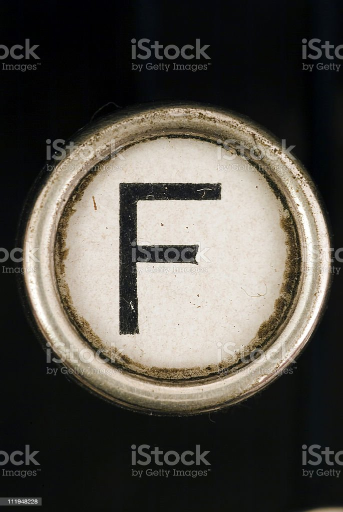 F key of a full alphabet from grungey typewriter royalty-free stock photo