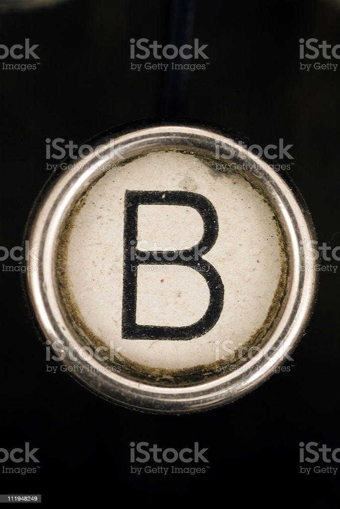 B key of a full alphabet from grungey typewriter royalty-free stock photo