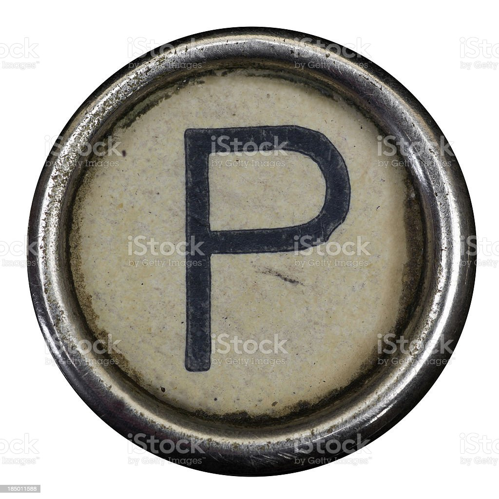 P key of a full alphabet from grungey typewriter royalty-free stock photo