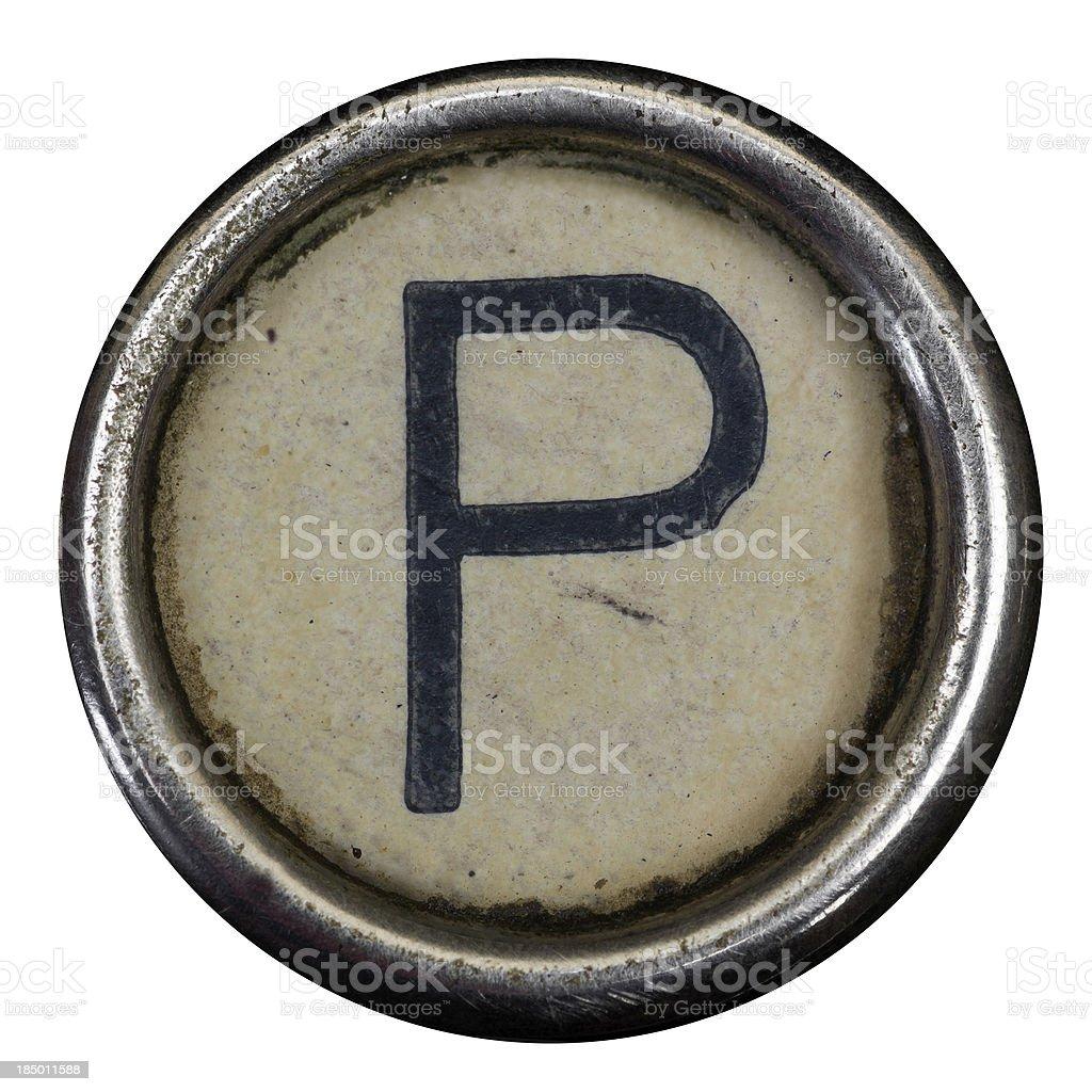 P key of a full alphabet from grungey typewriter stock photo