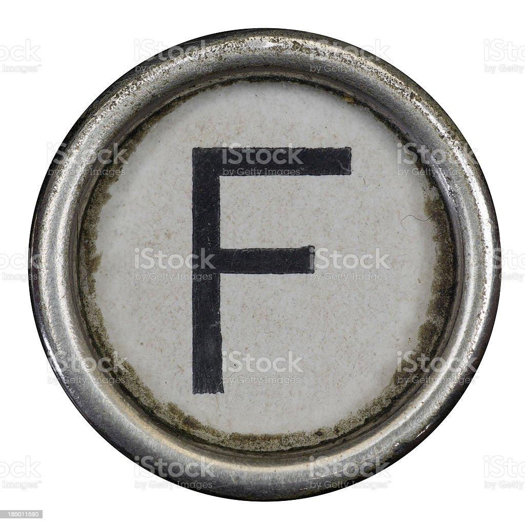F key of a full alphabet from grungey typewriter royalty-free stock photo