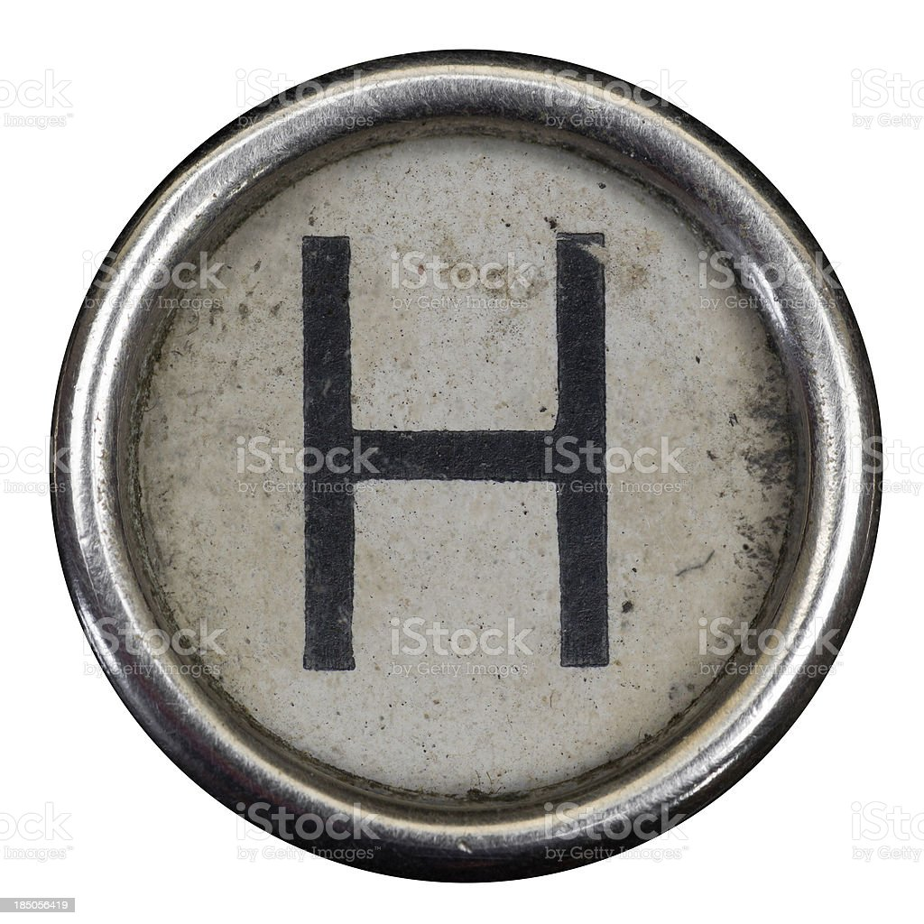 H key of a full alphabet from grungey typewriter stock photo