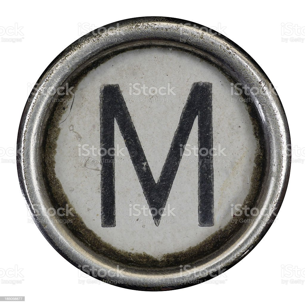 M key of a full alphabet from grungey typewriter stock photo