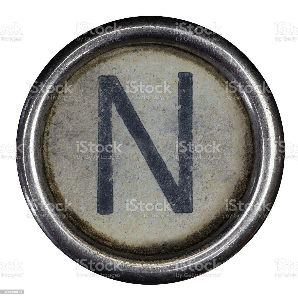 N key of a full alphabet from grungey typewriter royalty-free stock photo