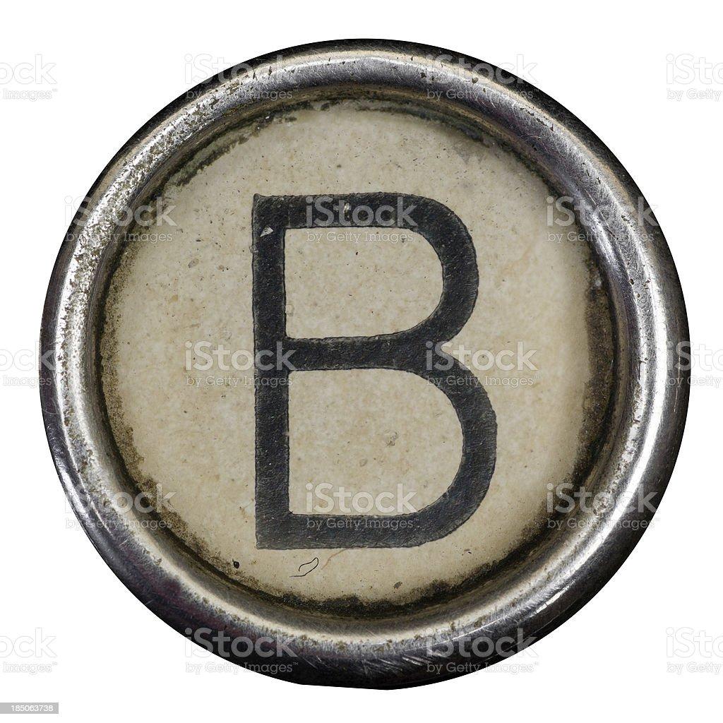 B key of a full alphabet from grungey typewriter stock photo