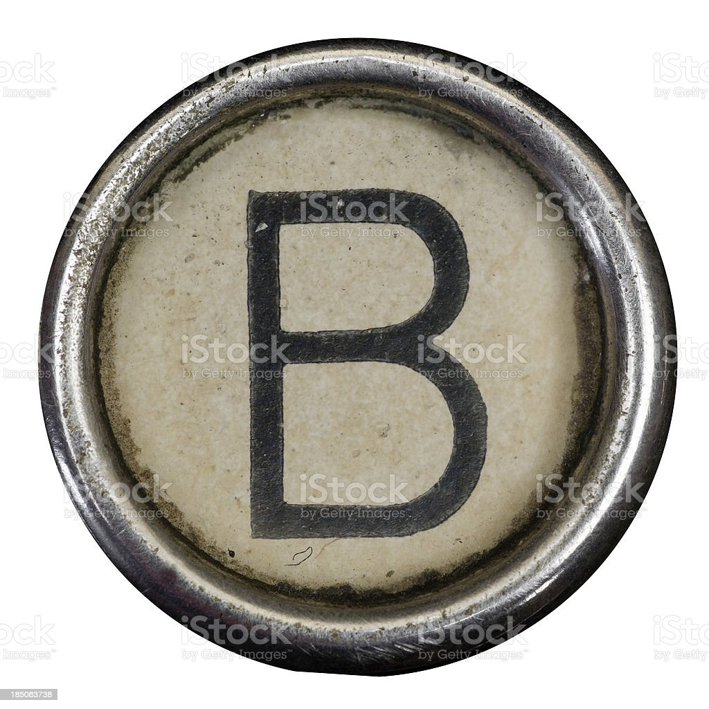 B key of a full alphabet from grungey typewriter stock photo