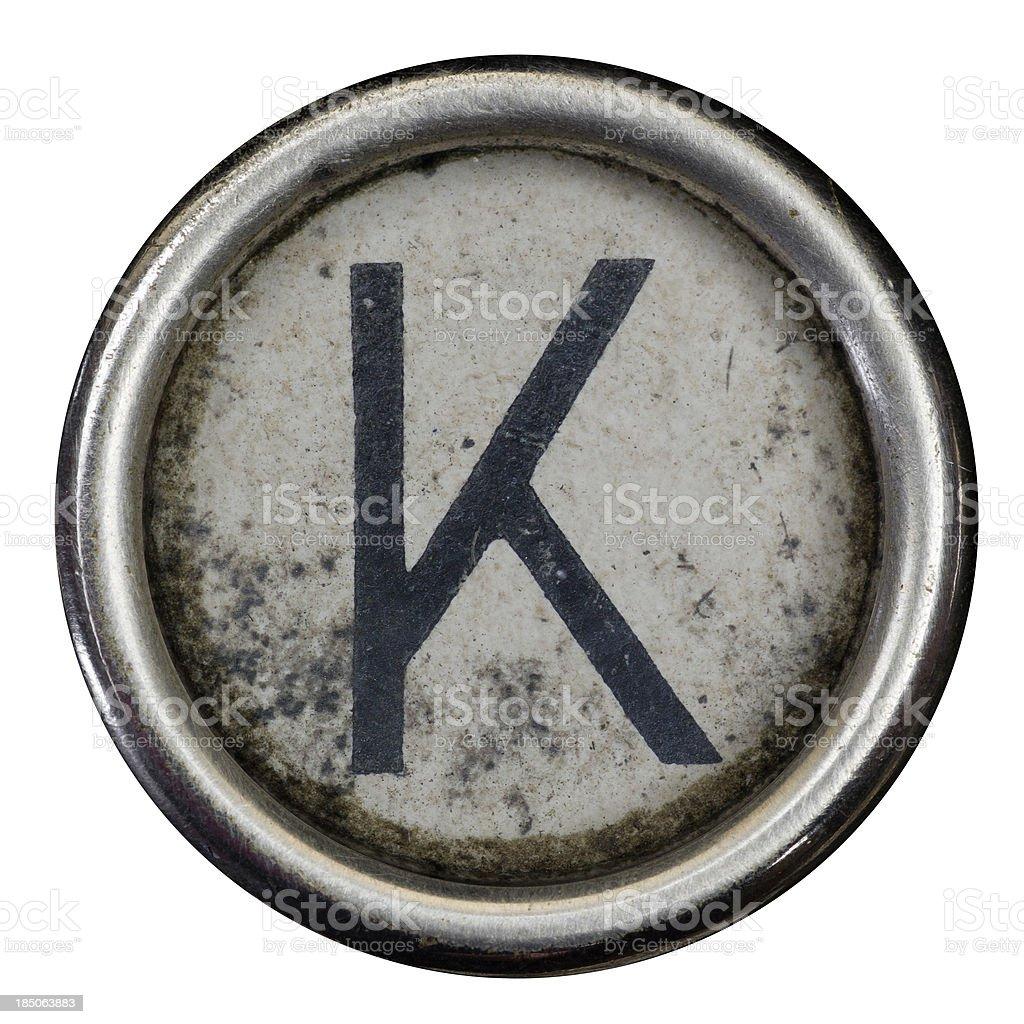K key of a full alphabet from grungey typewriter royalty-free stock photo