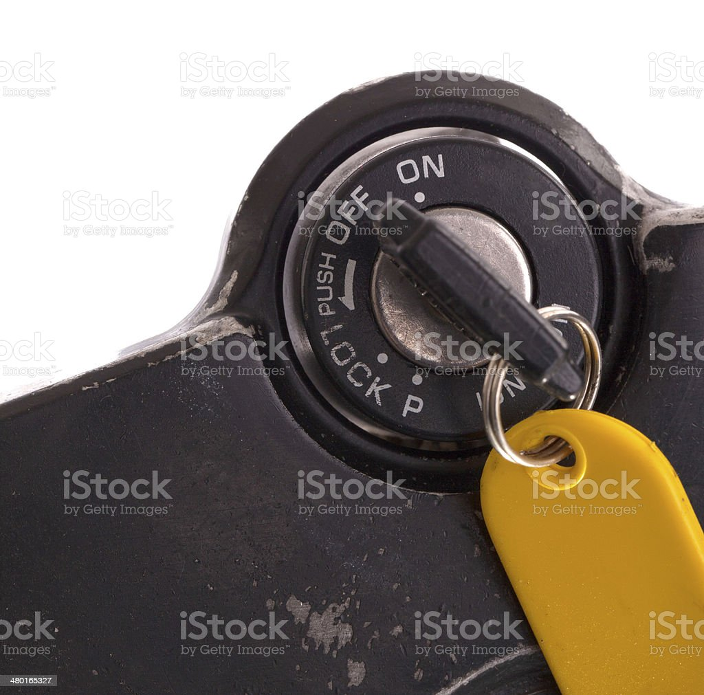 Key of an old motorcycle, selective focus stock photo