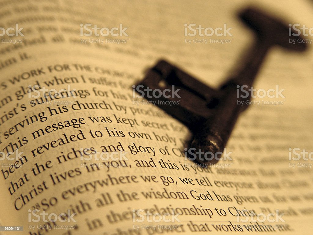 Key on a Bible royalty-free stock photo